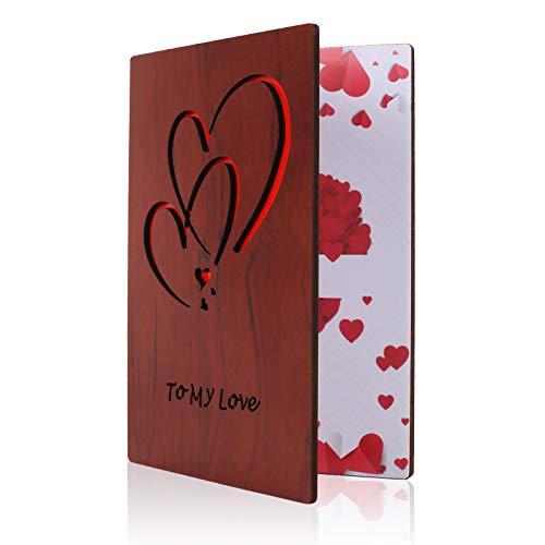 NACTECH Tarjeta de Felicitación de Madera Arjeta de Amor de Madera Tarjeta de San Valentín de Regalo para Aniversario, día de San Valentín, Cumpleaños, Bodas y Ocasiones Especiales