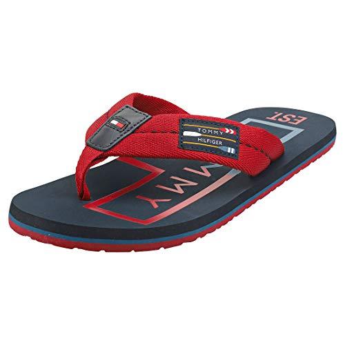Tommy Hilfiger Hilfiger Badge Beach Sandal, Sandalias con Punta Abierta Hombre, Rojo (Regatta Red Xit), 43 EU