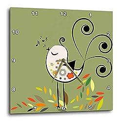 3dRose Little Singing Bird - Wall Clock, 10 by 10-Inch (DPP_29010_1)