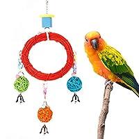 オウムペット鳥カラフルなリング籐ラウンドスイングぶら下げ立っているおもちゃウッドケージアクセサリー