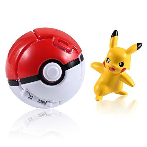 OMZGXGOD Poké Ball,Pokeball mit Figur,Pokemon bälle zum werfen,Pokémon Poké Ball Pokeball, Pokemon Mini Figurines Pour Enfants et Adultes Party Celebration Fun Toy Game Gift (Bulbasaur)