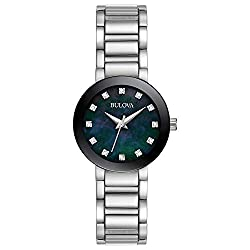 Black Dial Analog-Quartz Watch with Stainless-Steel Strap (Model: 96P172)