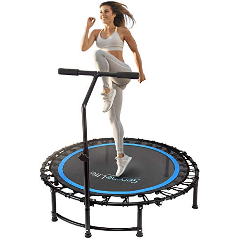 """SereneLife 40"""" Inch Portable Fitness Trampoline – Sports Trampoline with Adjustable Handrail for Indoor and Outdoor Use – Professional Round Jumping Trampoline – Cardio Trampoline"""