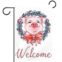 庭の旗芝生の装飾庭の装飾屋外の農家の装飾ホオジロ旗おかしい豚とクリスマスリースを歓迎します 両面バナー