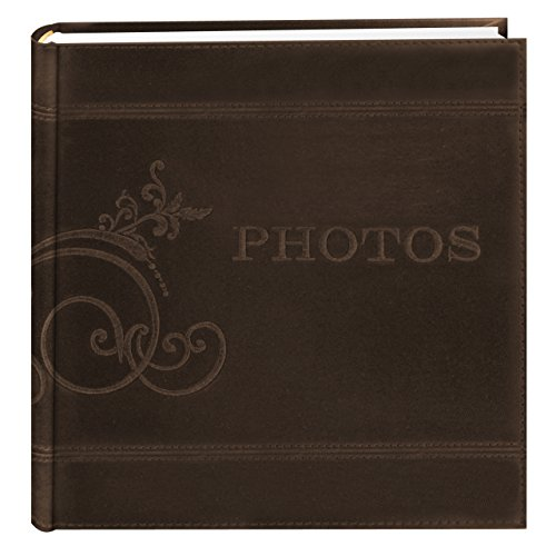 Pioneer Embroidered Scroll and Photos Sewn Leatherette Cover Photo Album, Brown