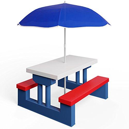 Deuba Conjunto de bancos y mesa para niños mesa de picnic con sombrilla protección UV exterior infantil juego asientos