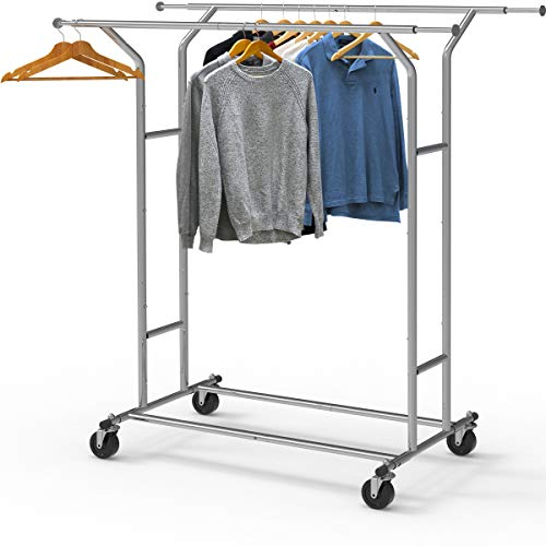Simple Houseware Heavy Duty Double Rail Clothing Garment Rack Chrome