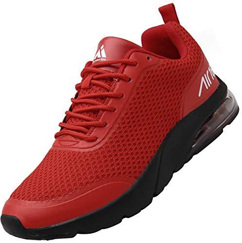 Mishansha Unisexo Low Top Zapatillas de Deporte Conveniente Cordones Hombre Mujer Calzado de Jogging Caminar Moda Ligero Zapatos Casuales Cómodos Plano Exterior Interior, Sneaker Rojo 41