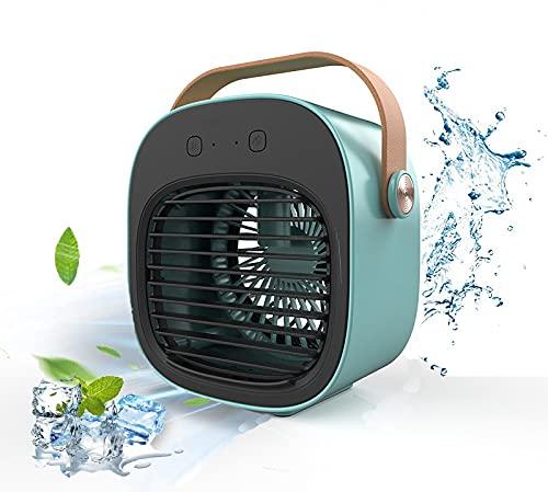 FAISHILAN【2021最新版】多機能冷風機,冷風扇 卓上扇風機,アイデア水冷ファン、スプレー加湿冷却、ミニデスクトップファン。携帯便利,4000mAh,USB 充電式 バッテリー内蔵 3段階風量調整 アウトドア/自宅/オフィス用 (ブルー)