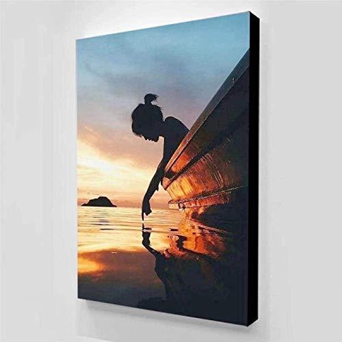 DCPPCPD Imprimir En Lienzo 60 * 90cm Sin Marco Carteles e Impresiones de la Chica del Lago Carteles de Arte Abstracto Imagen Minimalista estética