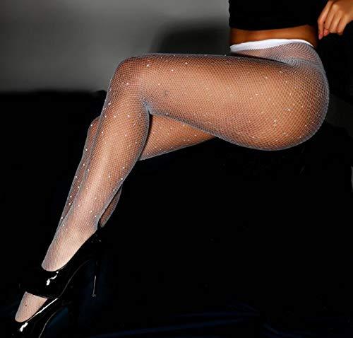 Z-Y Kousen Dij Sokken Sexy Vrouwen Sexy Kousen van het Visnet open kruis Mesh panty Shiny Rhinestone Nylons Kousen Zwarte Erotische Lingerie