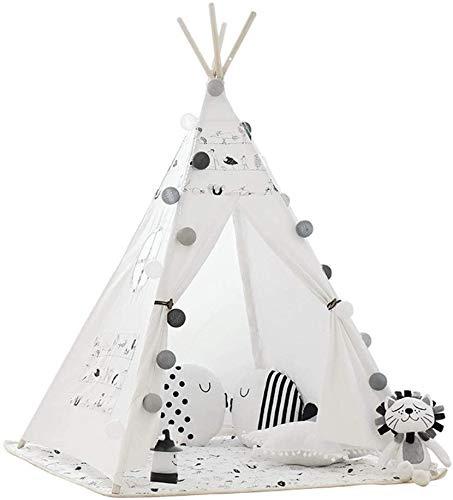 Schattig Play Tent Opvouwbare Cotton Canvas Tipi Children's fotografie rekwisieten Indoor Outdoor Indiankid's Tipi Tent Met Mat Window Pocket for Meisjes Jongens Babies Kleine (Kleur: C2, Maat: Zoals