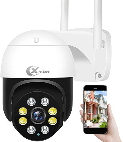 Security Camera Outdoor Wired,XVIM 1080P Pan/Tilt 2.4G WiFi Home Smart Security Surveillance IP Camera with Floodlight,Full Color Night Vision 2-Way Audio Motion Detection Cloud Camera