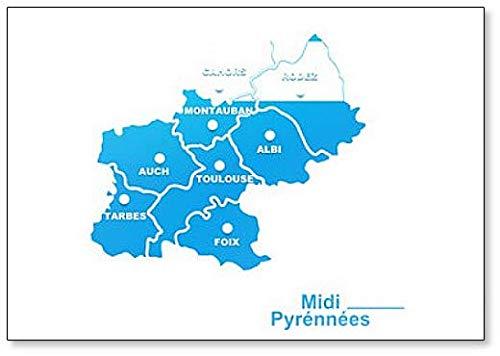 Midi Pyrénées Map - Imán clásico para nevera