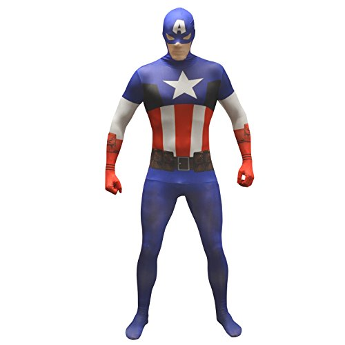 Offizieller Captain America Basic Morphsuit, Verkleidung, Kostüm - XXLarge - 6'2-6'9 (186cm-206cm)