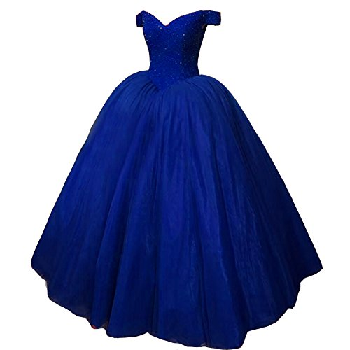 Kivary Heavy Beaded Off Shoulder Long Prom Dresses Formal Quinceanera Evening Ball Gown Royal Blue US 10