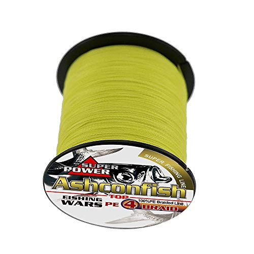 ashconfish – Super Stark Geflochtene Angelschnur PE Angeln Draht Multifil Angeln String 100 M/109yards Angeln Gewinde – abriebfest incyellowible Superline Zero Stretch klein Durchmesser Gelb