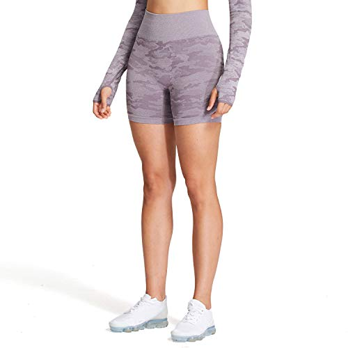Aoxjox Women's High Waisted Tummy Control Workout Yoga Gym Seamless Camo Shorts (Camo/Lavender Grey, Small)