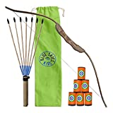 Kids Archery Set - Bow, Arrows and Targets - Wooden Hunting Toys for Boys and Girls (Single)
