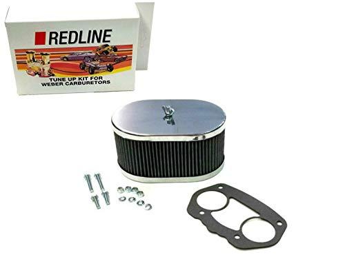 """Weber Redline Air Filter Kit 40 44 48 IDF 3 1/4"""" Oval Chrome 99217.347"""