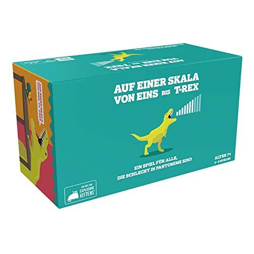 Asmodee EXKD0001 Auf Einer Skala von Eins bis T-Rex, Partyspiel, Kartenspiel, Deutsch