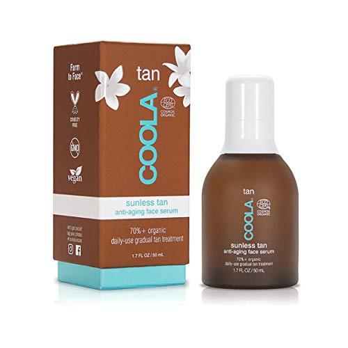 COOLA Organic Sunless Tan Anti-Aging Face Serum, Daily Gradual Self Tanner, Pina Colada, 1.7 fl oz