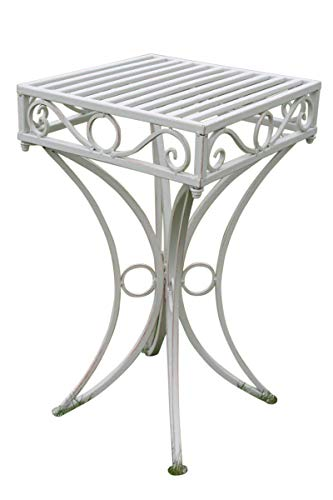 Garden Market Place Versailles Metal Garden Side Table or Plant Stand in Antique White Finish, 34 X 34 X 60