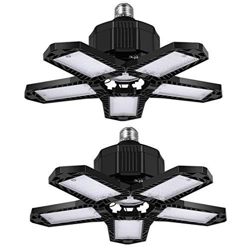 Éclairage de garage à LED 80W, Lampe d'atelier déformable à 5 panneaux ajustables, E27 6500K 8000Lm Plafonnier LED pour Entrepôt, Atelier, Sous-sol, Gym, Cuisine