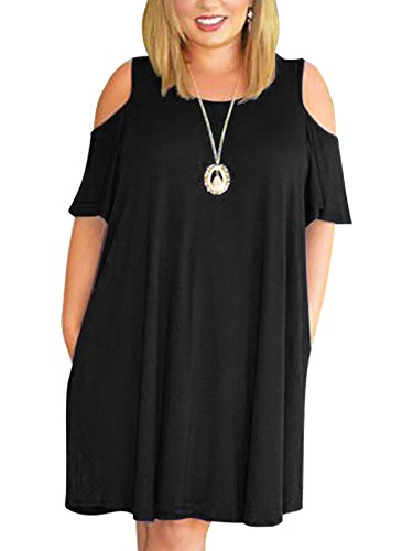Nemidor Women's Cold Shoulder Plus Size Casual T-Shirt Swing Dress with Pockets (26W, Black)