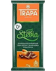 Trapa Tableta de Chocolate Extrafino con Leche y Almendra, con Stevia, 75 g
