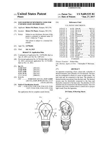 LED lightbulb minimizing LEDs for uniform light distribution: United States Patent 9689535