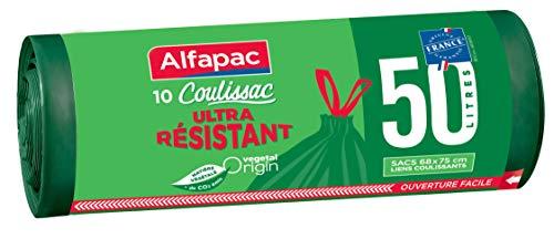 Alfapac 10 Sacs à Lien Coulissant Poubelle Ultra Résistant Vegetal Origin, Unitaire 68 x 75 cm 50 L