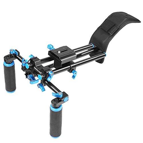 NEEWER DSLR Shoulder Mount Support Rig with Camera/Camcorder Mount Slider, Shoulder Lift Set, Double-hand Handgrip and C-shaped Holder Set For All Video Cameras and DV Camcorders