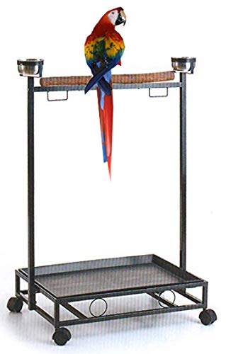 Mcage Large Wrought Iron Parrot Bird Play Stand Perch Play Gym Play Ground Rolling Stand