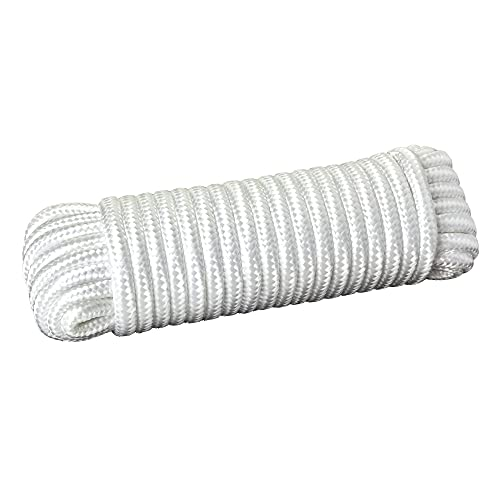 Katzco Nylon Rope Twisted Solid Braided - 1 Roll of 3/8 Inch x 50 Feet Rope - for Camping, Sports and Outdoors, Construction, Moving, Furniture, Towing, Wheels and Axles, Boat Docks, and Fishing