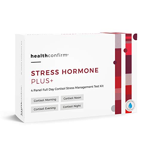 HealthConfirm - Stress Hormone Plus - At-Home Test Kit - 4 Panel Full Day Cortisol Stress Saliva Collection Kit
