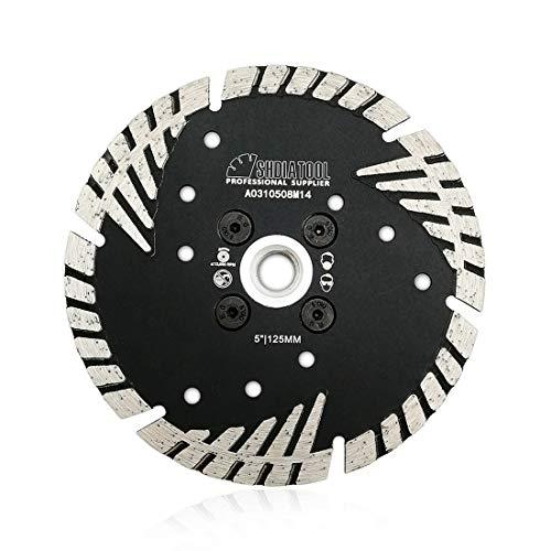 SHDIATOOL Diamant-Trennscheibe 125mm mit Turbo schrägen Schutzzähnen für Beton Backstein Fliese Granit Marmor Mauerwerk