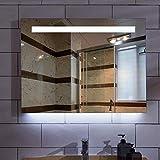 Espejo de baño, antivaho, espejo de baño con lámpa Espejo de baño LED iluminado impermeable, 60x80cm Edge pulido enamorado sin iluminación Rectángulo LED Espejo de baño con luz blanca / cálida, Tiempo