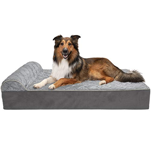 Furhaven Pet Dog Bed - Orthopedic Goliath Quilted Faux Fur and Velvet Chaise Lounge Living Room Couch Pet Bed with Removable Cover for Dogs and Cats, Gray, 2XL