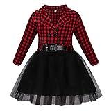 Jurebecia Vestido de niñas Manga Larga Camisa a Cuadros para niñas Vestido tutú para niños Falda de Tul Disfraz para niñas pequeñas Rojo 3-4 Años
