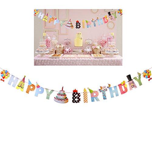 OULII Happy Birthday Bannerpapier Banner Party Girlande Girlande Fahne für Geburtstag Party Dekoration