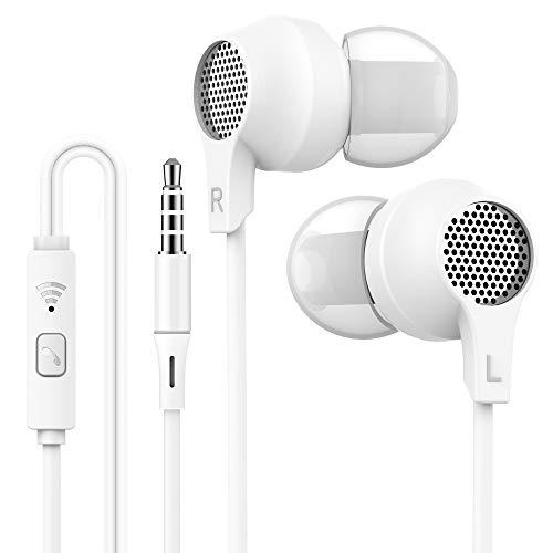 WalkerFit Kopfhörer in Ear, Noise Isolation Sleep Headset, Stereo in Ear Kopfhörer mit Mikrofon und Fernbedienung, Weiß