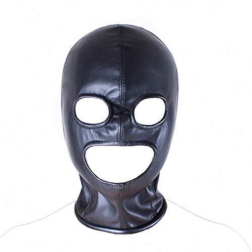 SXOVO 3 Loch Erotik Masken Kopfmaske Mit Reißverschluss Offenem Augen und Mund Hohl Bondage Fetisch Cosplay Sex Toy (Schwarz)