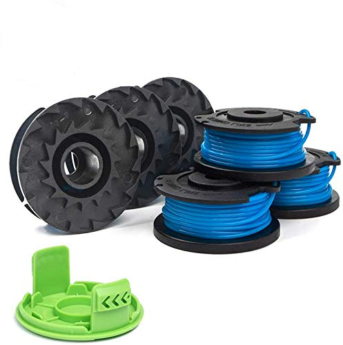 Weed Eater Spools Compatible with Greenworks 21332 21342 24 Volt 40V 80V String Trimmer Replacement, 3411546A-6 Cap Covers Parts, Edger Spool 16ft 0.065 inch 29252 (6 spools, 1 Cap)