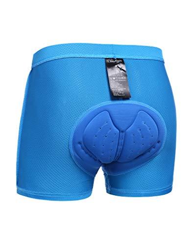 COOrun Men's Cycling Underwear 3D Padded Bike Shorts, MTB Liner Shorts Bike Shorts Men High Waist Ergonomic Design, Blue, Large