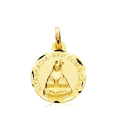 Medalla Virgen de Altagracia R. Dominicana Oro 18k 16mm