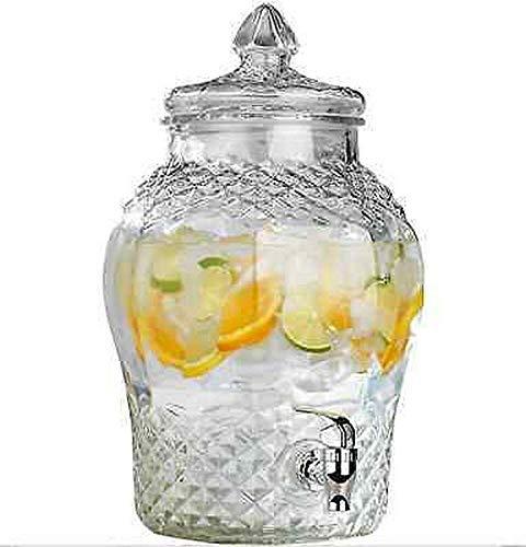 AGROHIT Getränkespender mit Zapfhahn Zapfsäule Dispenser aus Glas 5,7 l