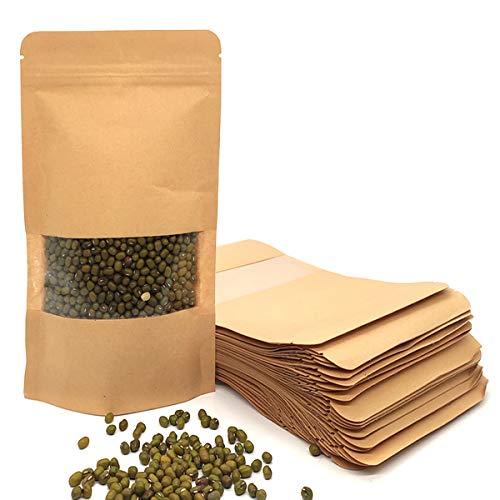YuChiSX 50 STK Stehkraftpapiertaschen mit Reißverschluss,Geschenktüten Kraftpapier tüten Kraftpapiertüten kleine Mini Papierbeutel Lebensmittel-echt Verpackung zum Befüllen Kraftpapier Tee-Tüten