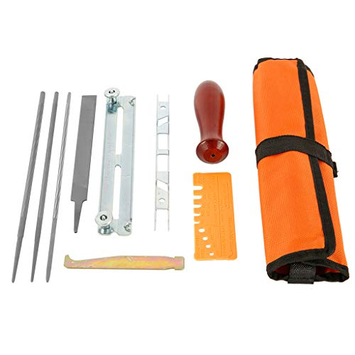 Kettensägen Schärffeilen Sägekette Feilen Set Enthält Rundfeile Schärfführungen Tiefenmesser Flache 10-stk mit Stoffbeutel