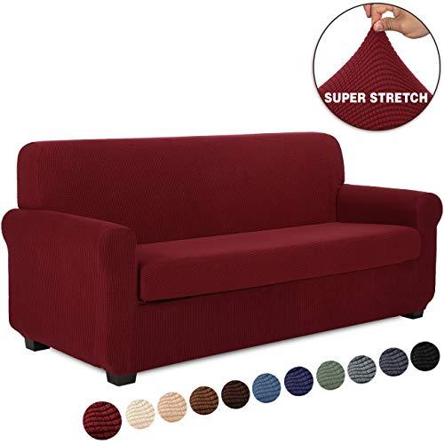 TIANSHU Sofaüberwürfe 3 sitzer,Spandex Sofabezug 2-Stücke Stretch Couchbezug Elastischer Antirutsch Stretchhusse Weich Jacquard Stoff Sofa-Überwürfe(3 Sitzer,Weinrot)